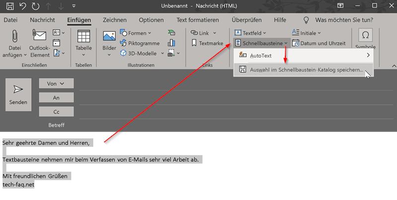 Outlook Textbausteine speichern