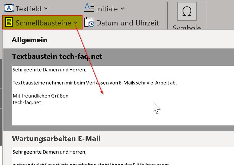 Textbausteine in Outlook verwenden