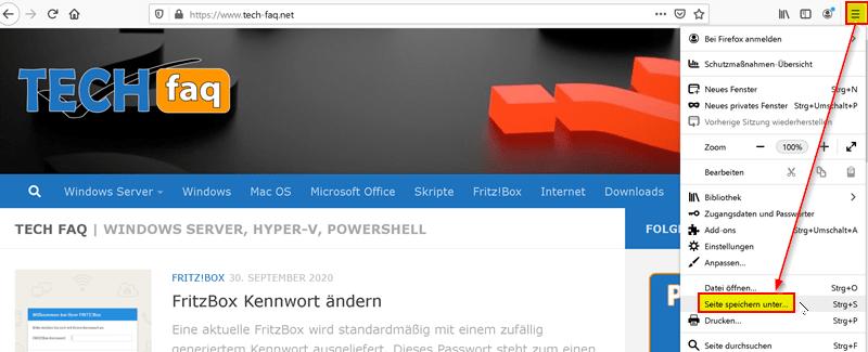 Webseite offline speichern mit Mozilla Firefox
