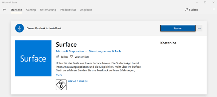 Microsoft Surface App im Microsoft Store