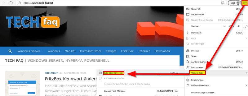 Webseite abspeichern mit Microsoft Edge