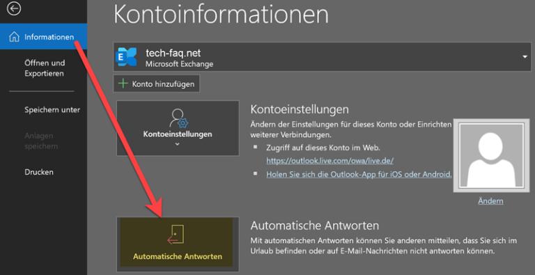 Outlook - Automatische Antwort / Abwesenheitsnotiz