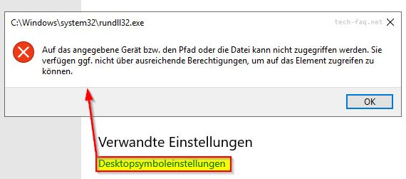Fehlermeldung Desktopsymboleinstellungen rundll32