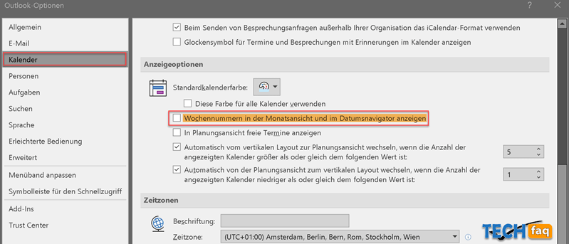 Kalenderwochen in Outlook anzeigen