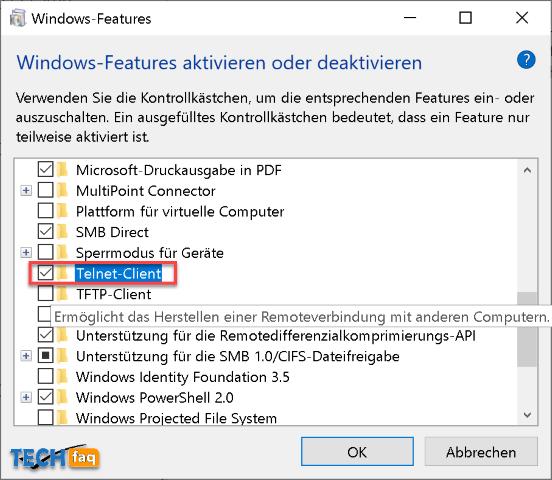 Windows Telnet Client aktivieren