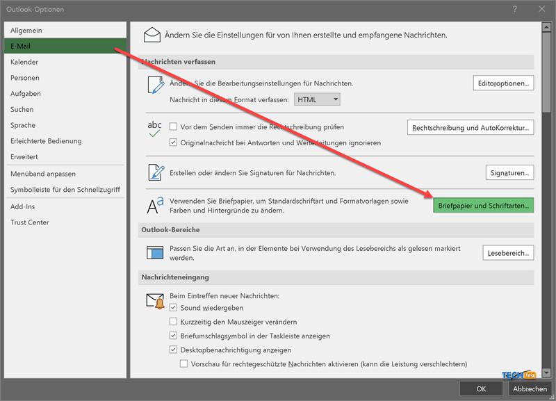 Outlook Schriftart ändern