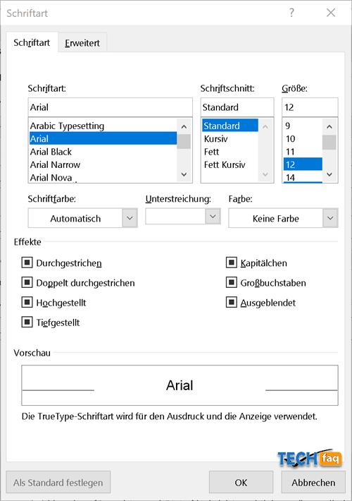 Outlook Standard Schriftart einstellen