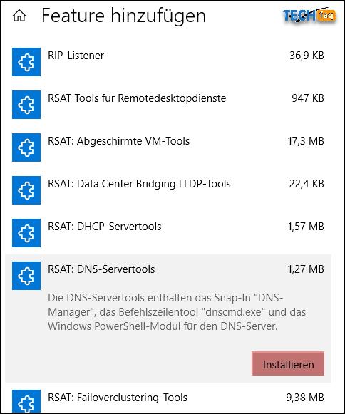 RSAT in Windows 10 installieren