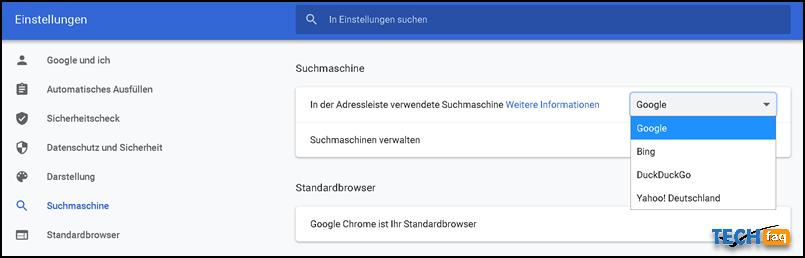 Suchmaschine in Chrome ändern