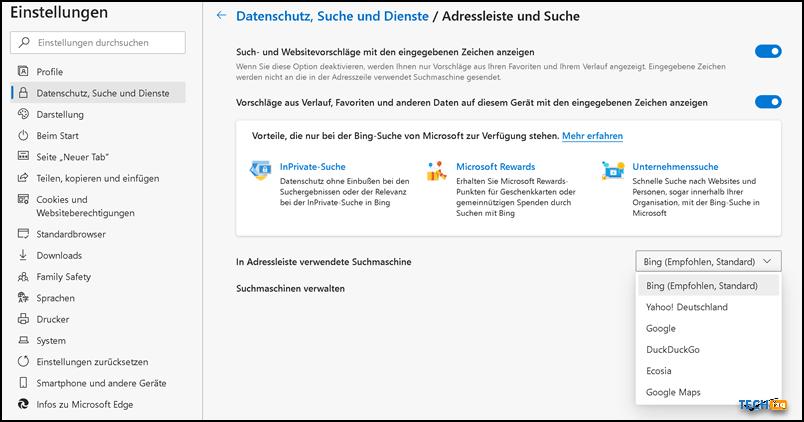 Suchmaschine in Microsoft Edge ändern