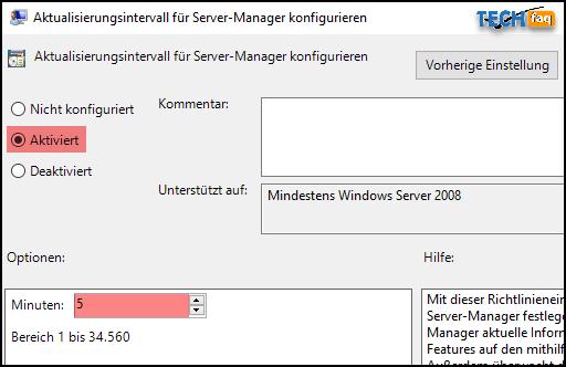 Das Server-Manager Aktualisierungsintervall per Gruppenrichtlinie ändern