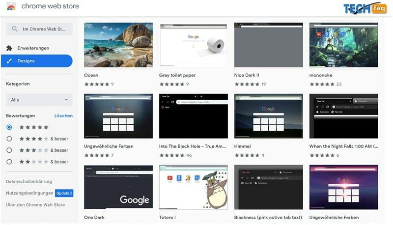 Google Chrome Designs - Hintergründe installieren