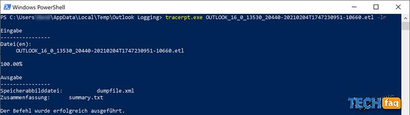 Outlook Log konvertieren von etl in xml