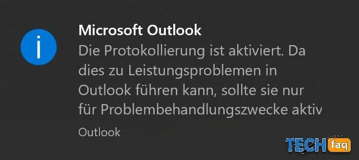 Outlook Logfile wird geschrieben