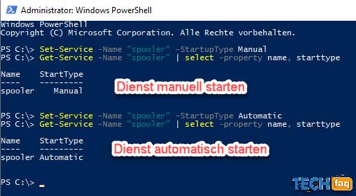Start von Windows Diensten mit der PowerShell einstellen