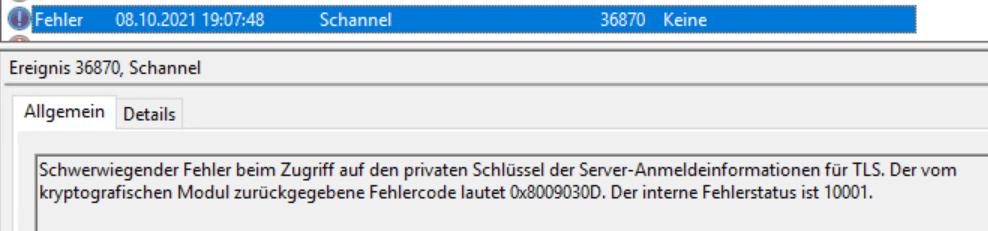 Windows EventLog - EventID 36870, Schannel - 0x8009030D