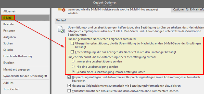 Einstellungen für Lesebestätigungen in Microsoft Outlook festlegen.